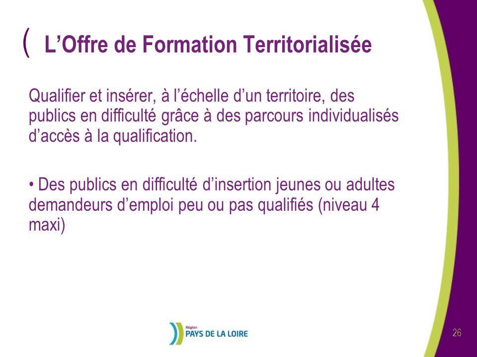 ( 26 LOffre de Formation Territorialisée Qualifier et insérer, à léchelle dun territoire, des publics en difficulté grâce à des parcours individualisés daccès à la qualification.