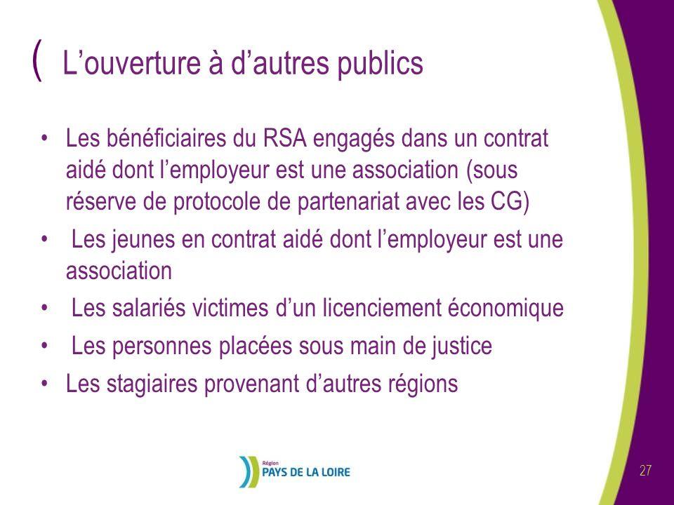 ( 27 Louverture à dautres publics Les bénéficiaires du RSA engagés dans un contrat aidé dont lemployeur est une association (sous réserve de protocole
