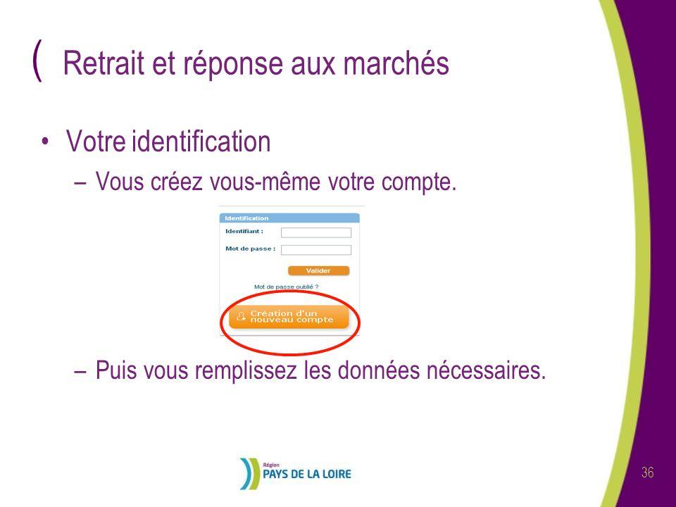 ( 36 Retrait et réponse aux marchés Votre identification –Vous créez vous-même votre compte. –Puis vous remplissez les données nécessaires.