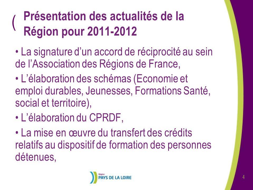 ( 4 Présentation des actualités de la Région pour 2011-2012 La signature dun accord de réciprocité au sein de lAssociation des Régions de France, Léla