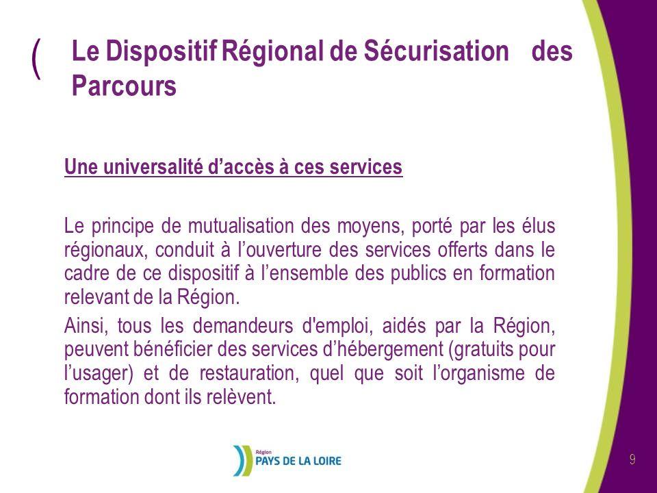 ( 9 Le Dispositif Régional de Sécurisation des Parcours Une universalité daccès à ces services Le principe de mutualisation des moyens, porté par les