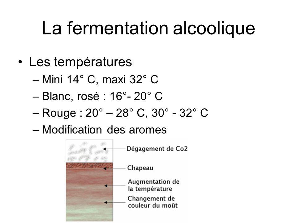 La fermentation alcoolique Les températures –Mini 14° C, maxi 32° C –Blanc, rosé : 16°- 20° C –Rouge : 20° – 28° C, 30° - 32° C –Modification des arom