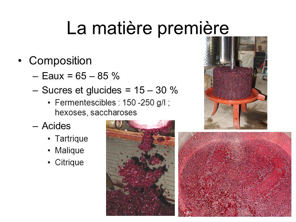 La matière première Composition –Eaux = 65 – 85 % –Sucres et glucides = 15 – 30 % Fermentescibles : 150 -250 g/l ; hexoses, saccharoses –Acides Tartri