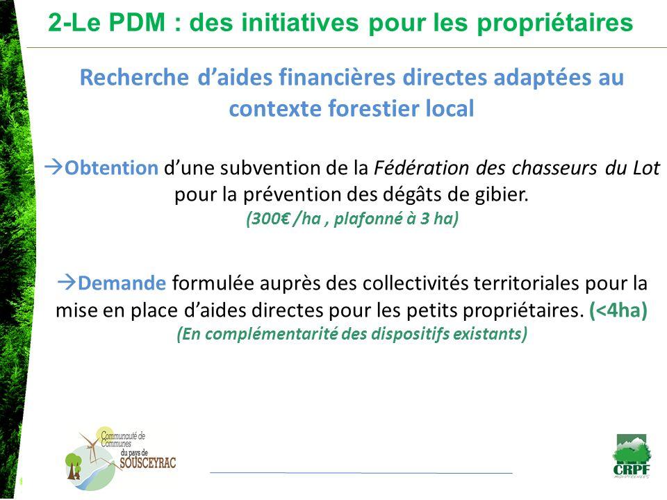Obtention dune subvention de la Fédération des chasseurs du Lot pour la prévention des dégâts de gibier. (300 /ha, plafonné à 3 ha) Demande formulée a
