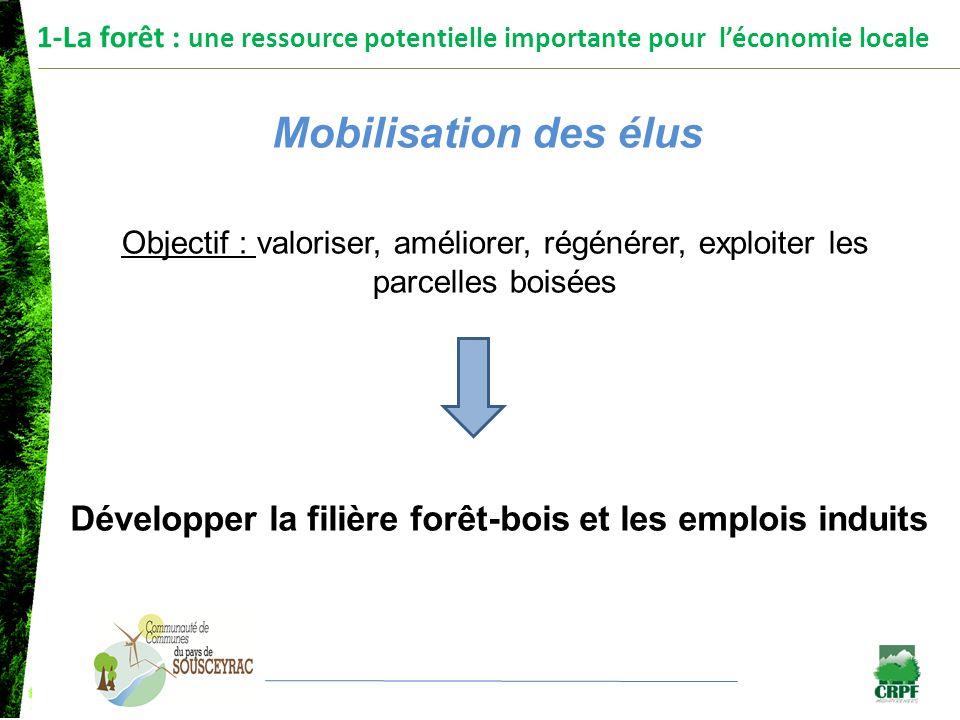 1-La forêt : une ressource potentielle importante pour léconomie locale Mobilisation des élus Objectif : valoriser, améliorer, régénérer, exploiter le