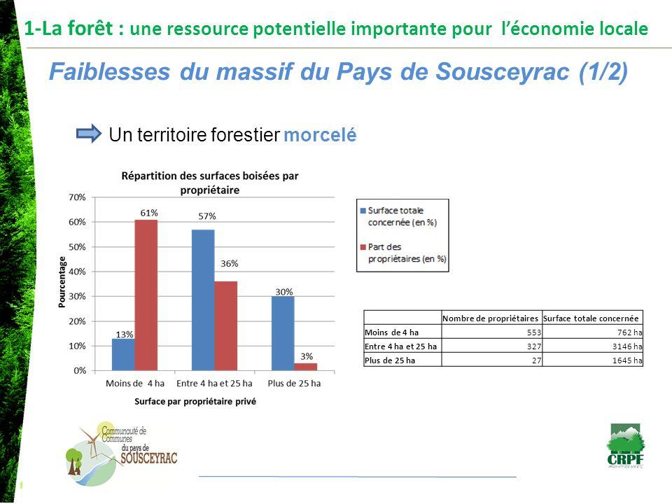 1-La forêt : une ressource potentielle importante pour léconomie locale Faiblesses du massif du Pays de Sousceyrac (1/2) Un territoire forestier morce