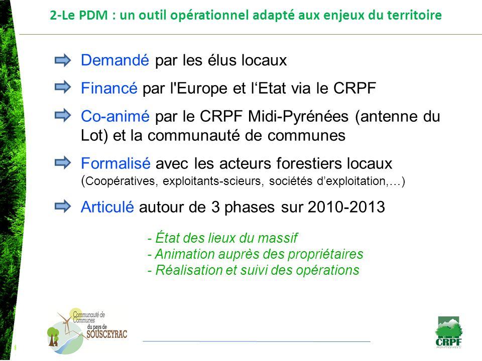 2-Le PDM : un outil opérationnel adapté aux enjeux du territoire Demandé par les élus locaux Financé par l'Europe et lEtat via le CRPF Co-animé par le