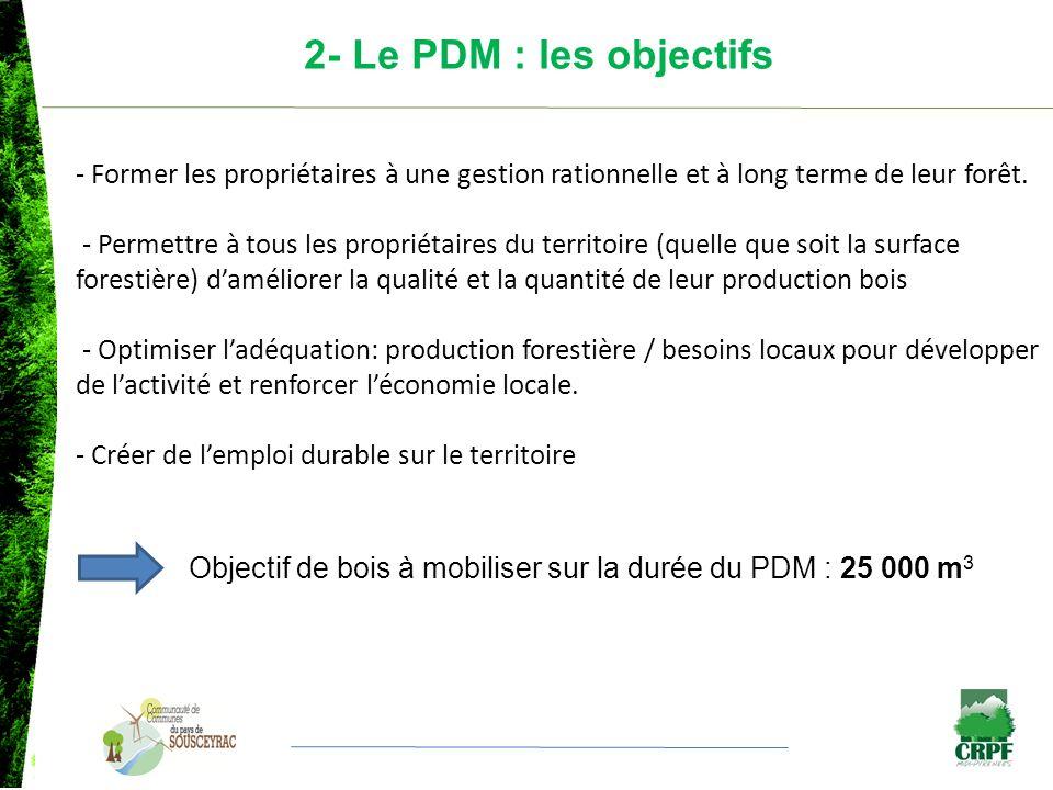 2- Le PDM : les objectifs - Former les propriétaires à une gestion rationnelle et à long terme de leur forêt. - Permettre à tous les propriétaires du