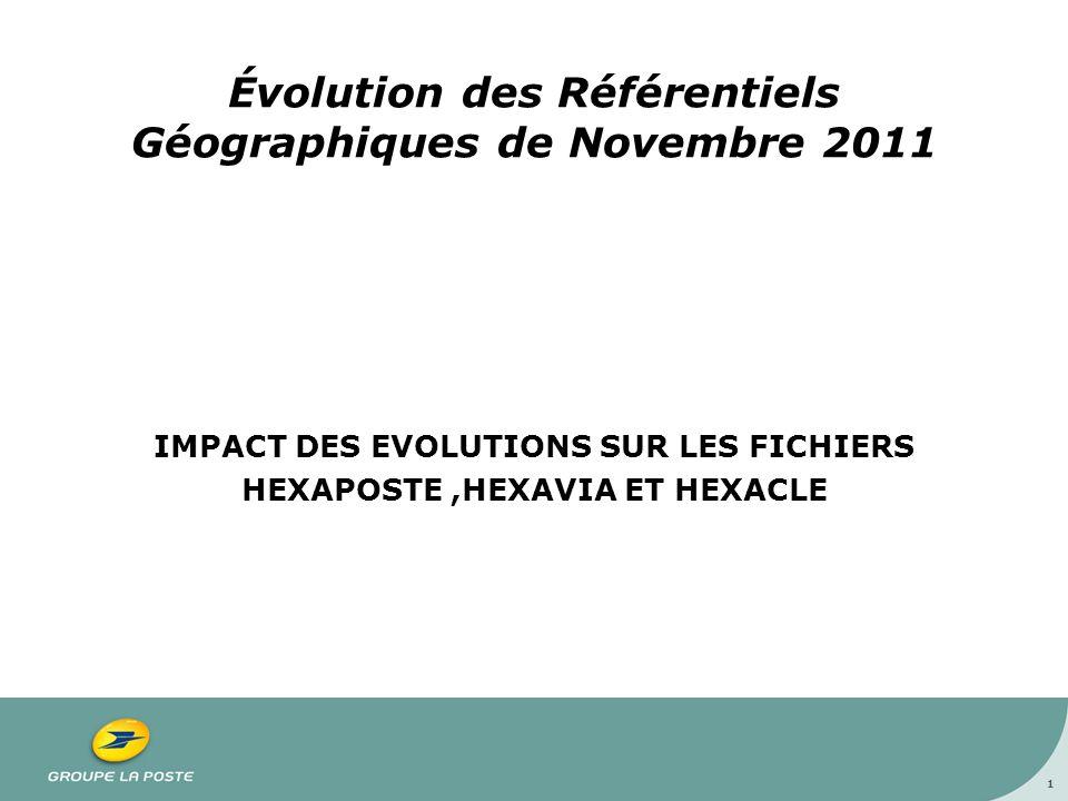 Évolution des Référentiels Géographiques de Novembre 2011 IMPACT DES EVOLUTIONS SUR LES FICHIERS HEXAPOSTE,HEXAVIA ET HEXACLE 1