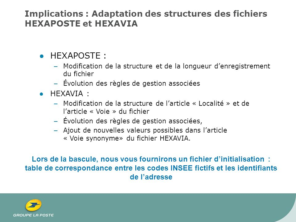Implications : Adaptation des structures des fichiers HEXAPOSTE et HEXAVIA HEXAPOSTE : – Modification de la structure et de la longueur denregistremen