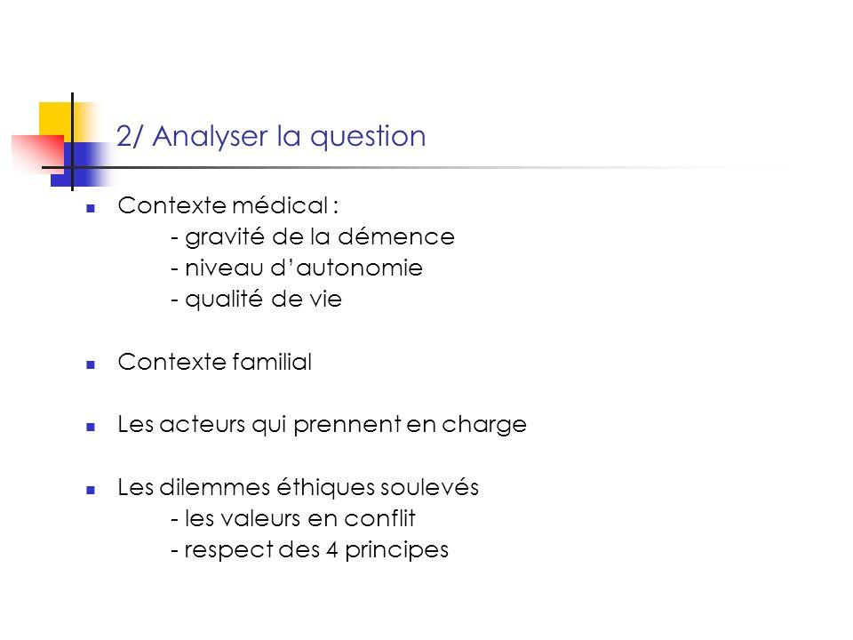 2/ Analyser la question Contexte médical : - gravité de la démence - niveau dautonomie - qualité de vie Contexte familial Les acteurs qui prennent en charge Les dilemmes éthiques soulevés - les valeurs en conflit - respect des 4 principes