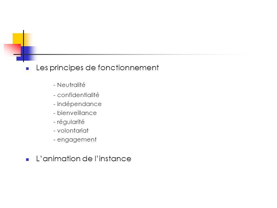 Les principes de fonctionnement - Neutralité - confidentialité - indépendance - bienveillance - régularité - volontariat - engagement Lanimation de linstance