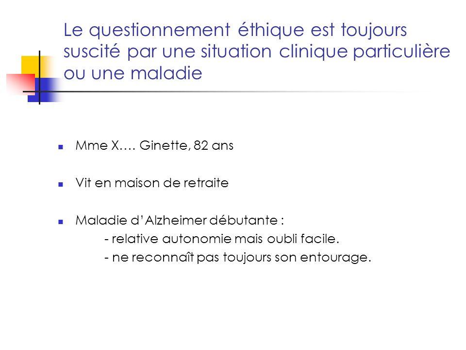 Le questionnement éthique est toujours suscité par une situation clinique particulière ou une maladie Mme X….