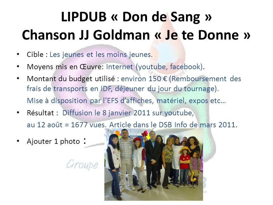 LIPDUB « Don de Sang » Chanson JJ Goldman « Je te Donne » Cible : Les jeunes et les moins jeunes. Moyens mis en Œuvre: Internet (youtube, facebook). M