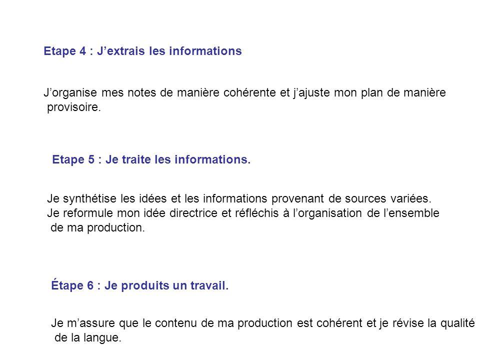 Etape 4 : Jextrais les informations Jorganise mes notes de manière cohérente et jajuste mon plan de manière provisoire. Etape 5 : Je traite les inform