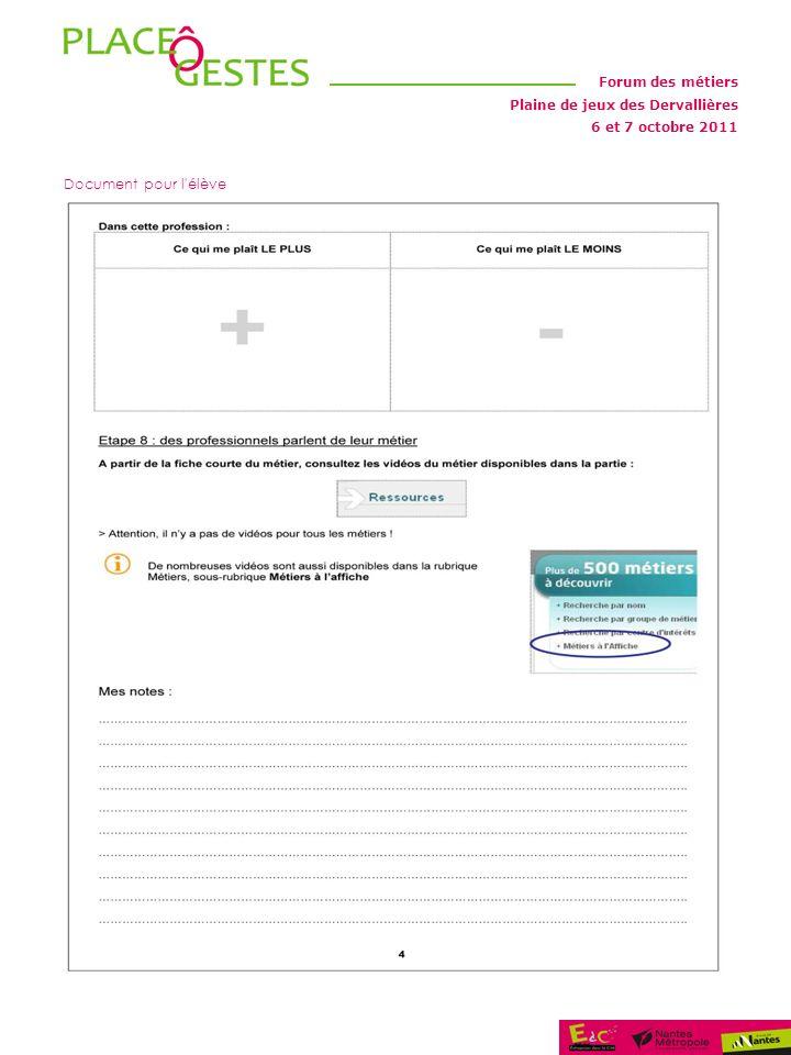 Plaine de jeux des Dervallières Forum des métiers 6 et 7 octobre 2011 Document pour l élève