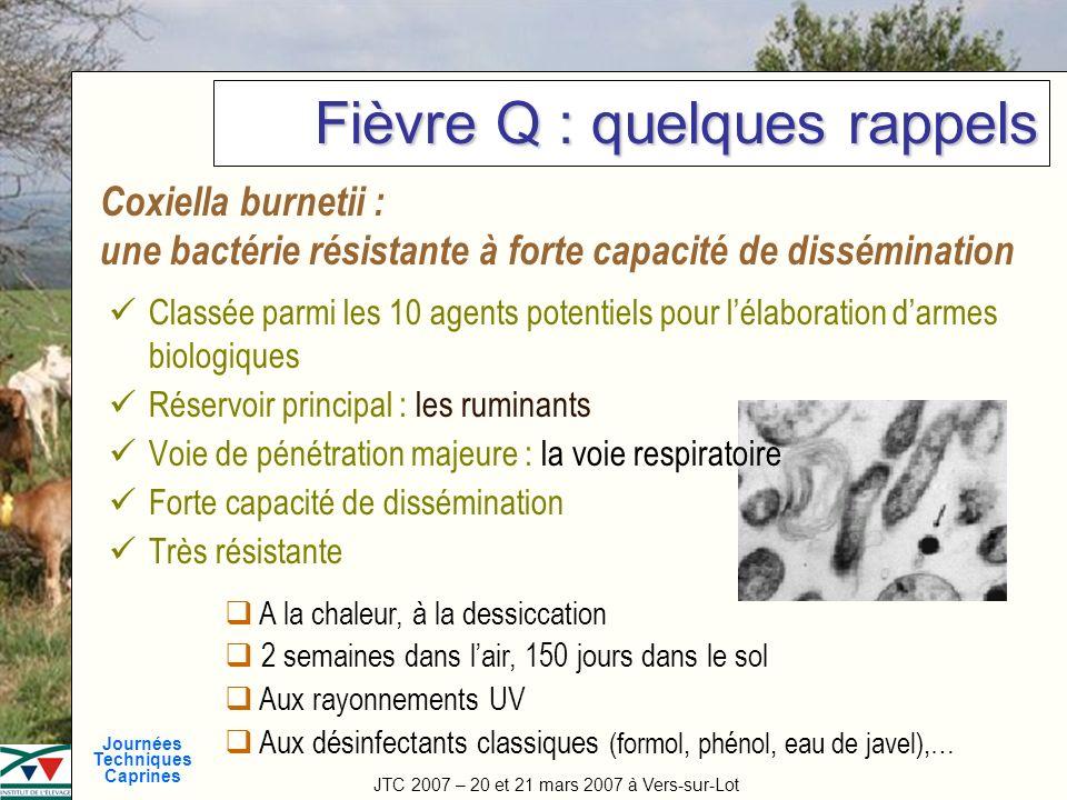 JTC 2007 – 20 et 21 mars 2007 à Vers-sur-Lot Journées Techniques Caprines Titre de la manifestation Fièvre Q : quelques rappels Classée parmi les 10 a