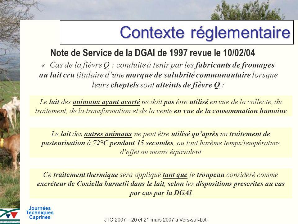 JTC 2007 – 20 et 21 mars 2007 à Vers-sur-Lot Journées Techniques Caprines Titre de la manifestation Contexte réglementaire Note de Service de la DGAl