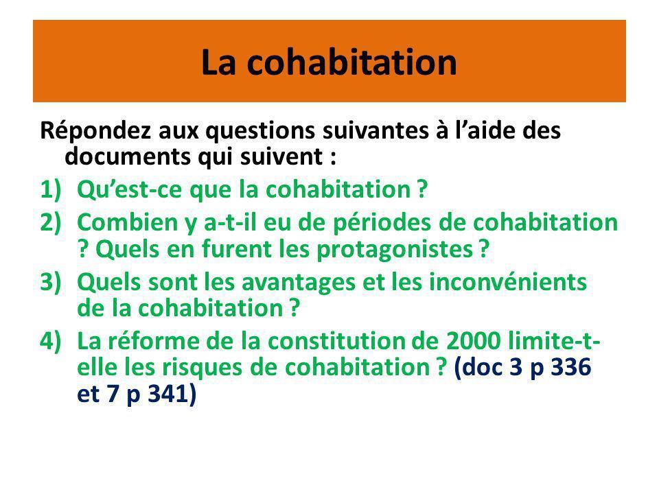 La cohabitation Répondez aux questions suivantes à laide des documents qui suivent : 1)Quest-ce que la cohabitation .