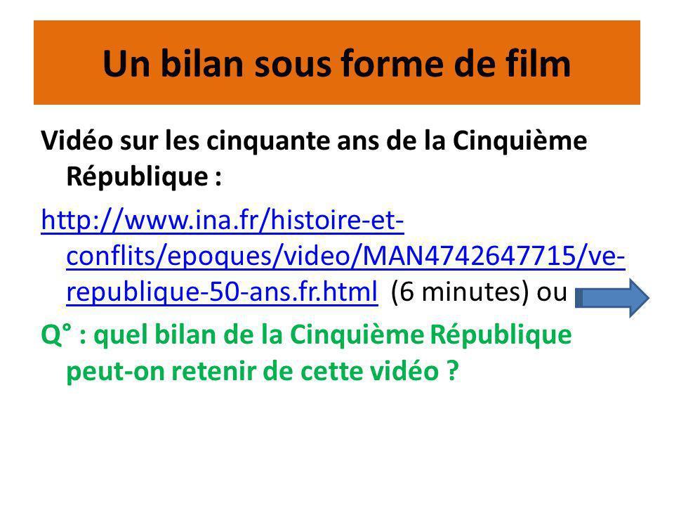 Un bilan sous forme de film Vidéo sur les cinquante ans de la Cinquième République : http://www.ina.fr/histoire-et- conflits/epoques/video/MAN4742647715/ve- republique-50-ans.fr.htmlhttp://www.ina.fr/histoire-et- conflits/epoques/video/MAN4742647715/ve- republique-50-ans.fr.html (6 minutes) ou Q° : quel bilan de la Cinquième République peut-on retenir de cette vidéo ?