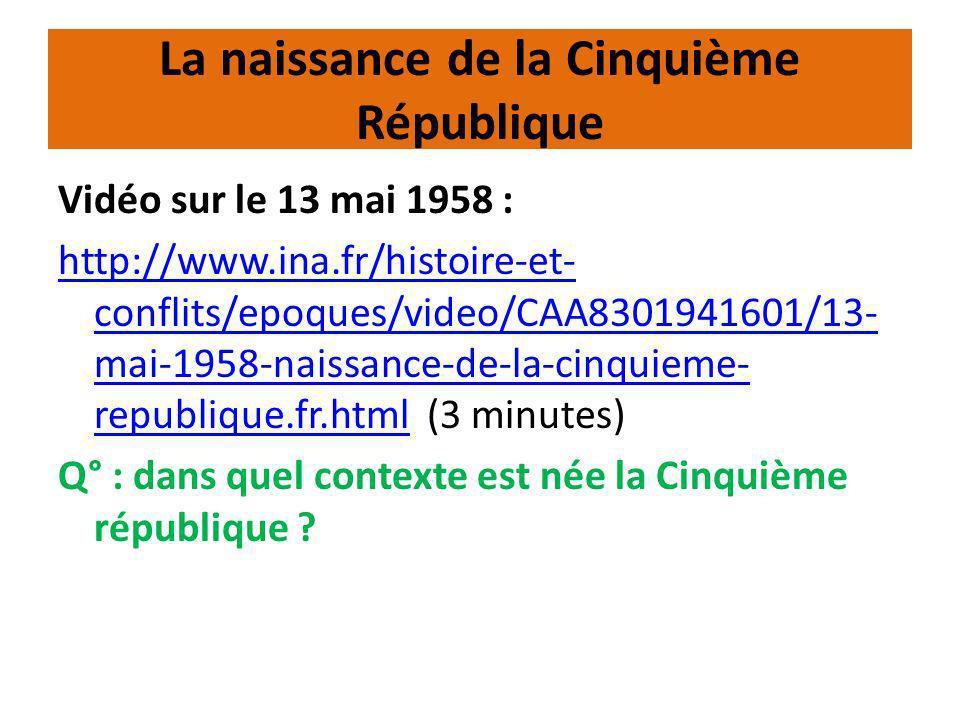 Les institutions de la Cinquième République Organigramme des institutions : => Voir le document 2 p 322 Q° : comment fonctionnent les institutions de la Cinquième République .
