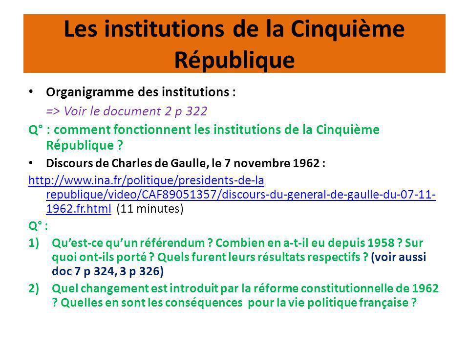 Les institutions de la Cinquième République Organigramme des institutions : => Voir le document 2 p 322 Q° : comment fonctionnent les institutions de
