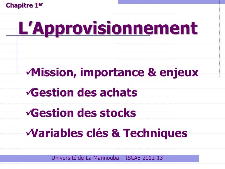 Université de La Mannouba – ISCAE 2012-13 LApprovisionnement Chapitre 1 er Mission, importance & enjeux Gestion des achats Gestion des stocks Variable