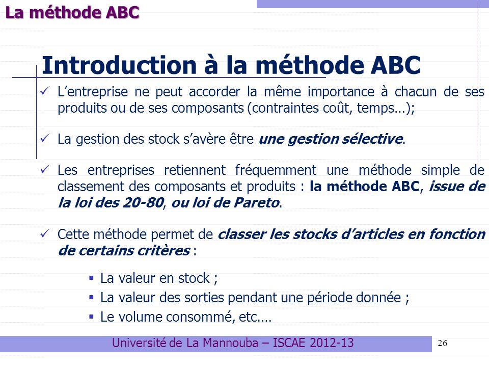 26 Introduction à la méthode ABC Lentreprise ne peut accorder la même importance à chacun de ses produits ou de ses composants (contraintes coût, temp