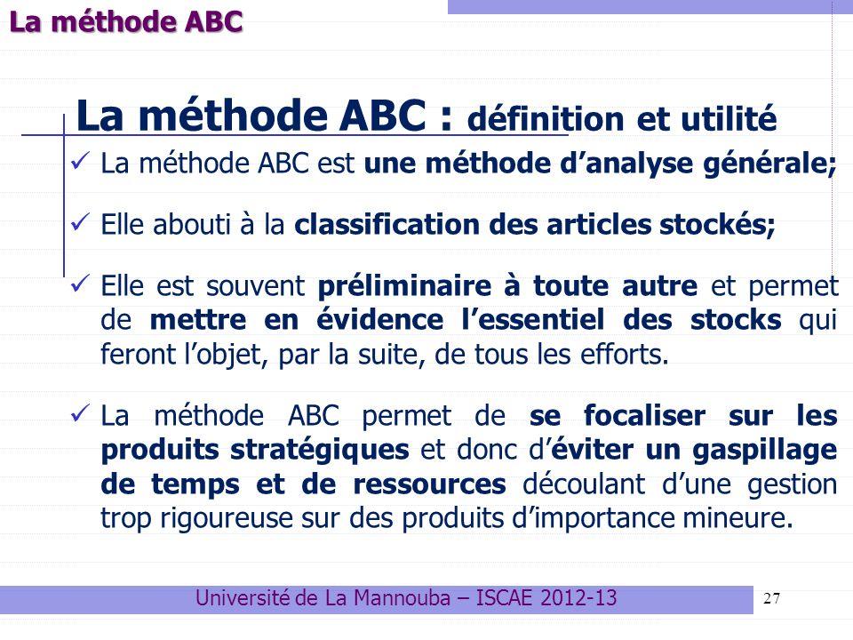 27 La méthode ABC : définition et utilité La méthode ABC est une méthode danalyse générale; Elle abouti à la classification des articles stockés; Elle