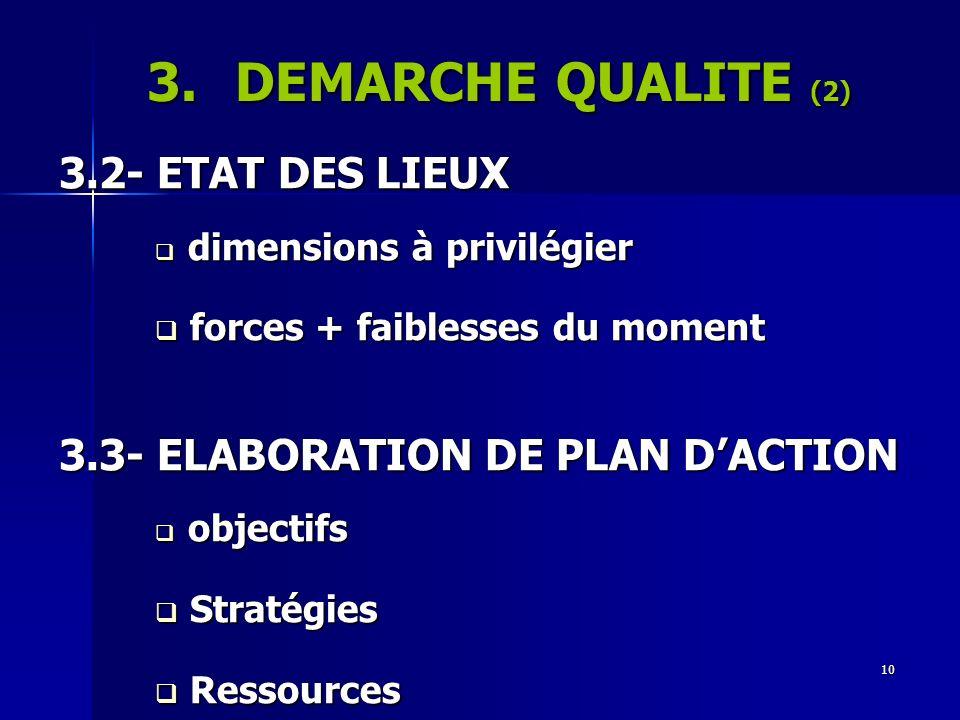 10 3.DEMARCHE QUALITE (2) 3.2- ETAT DES LIEUX dimensions à privilégier dimensions à privilégier forces + faiblesses du moment forces + faiblesses du m