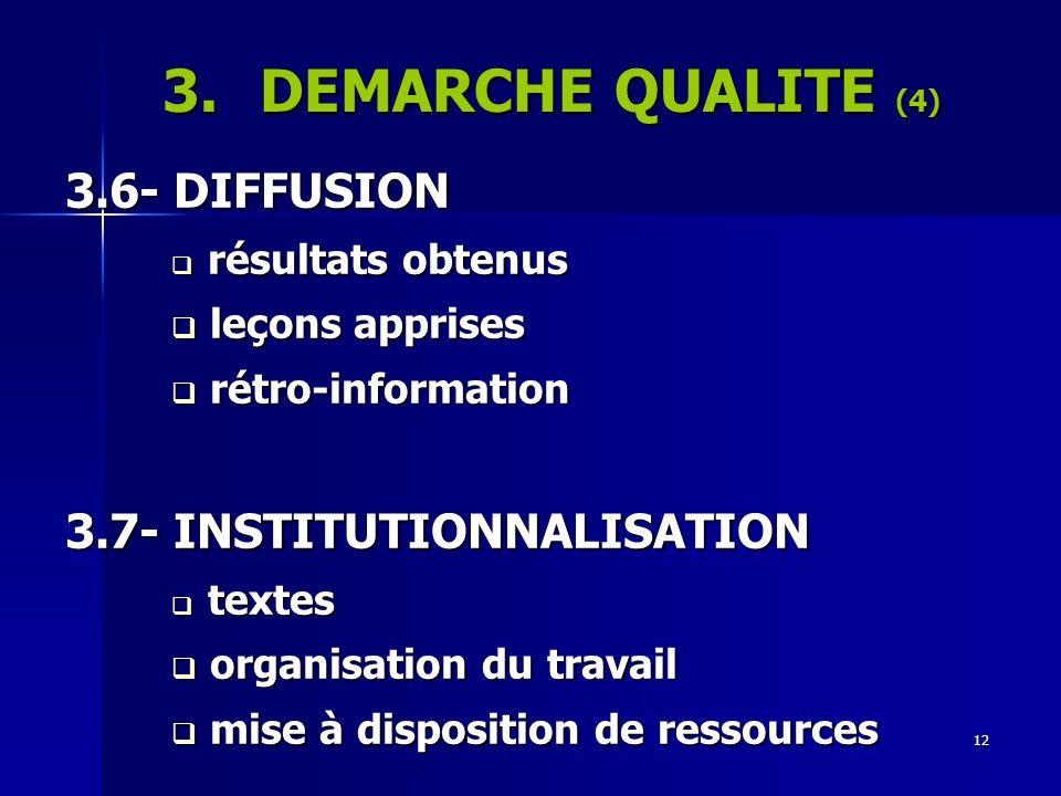 12 3.DEMARCHE QUALITE (4) 3.6- DIFFUSION résultats obtenus résultats obtenus leçons apprises leçons apprises rétro-information rétro-information 3.7-