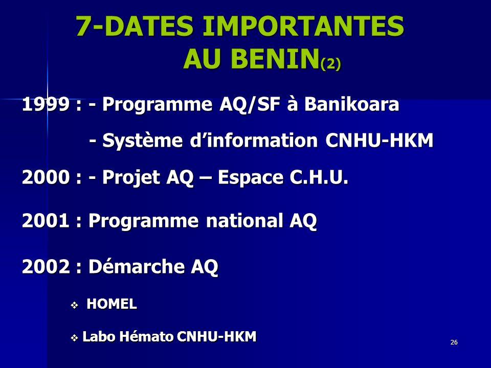 26 1999 : - Programme AQ/SF à Banikoara - Système dinformation CNHU-HKM - Système dinformation CNHU-HKM 2000 : - Projet AQ – Espace C.H.U. 2001 : Prog