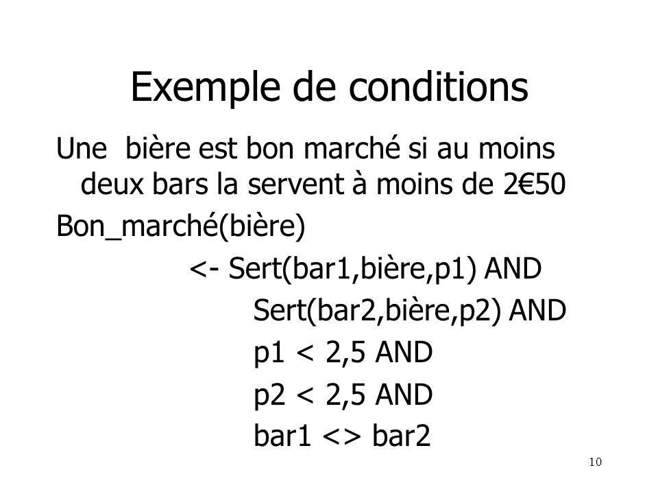 10 Exemple de conditions Une bière est bon marché si au moins deux bars la servent à moins de 250 Bon_marché(bière) <- Sert(bar1,bière,p1) AND Sert(ba