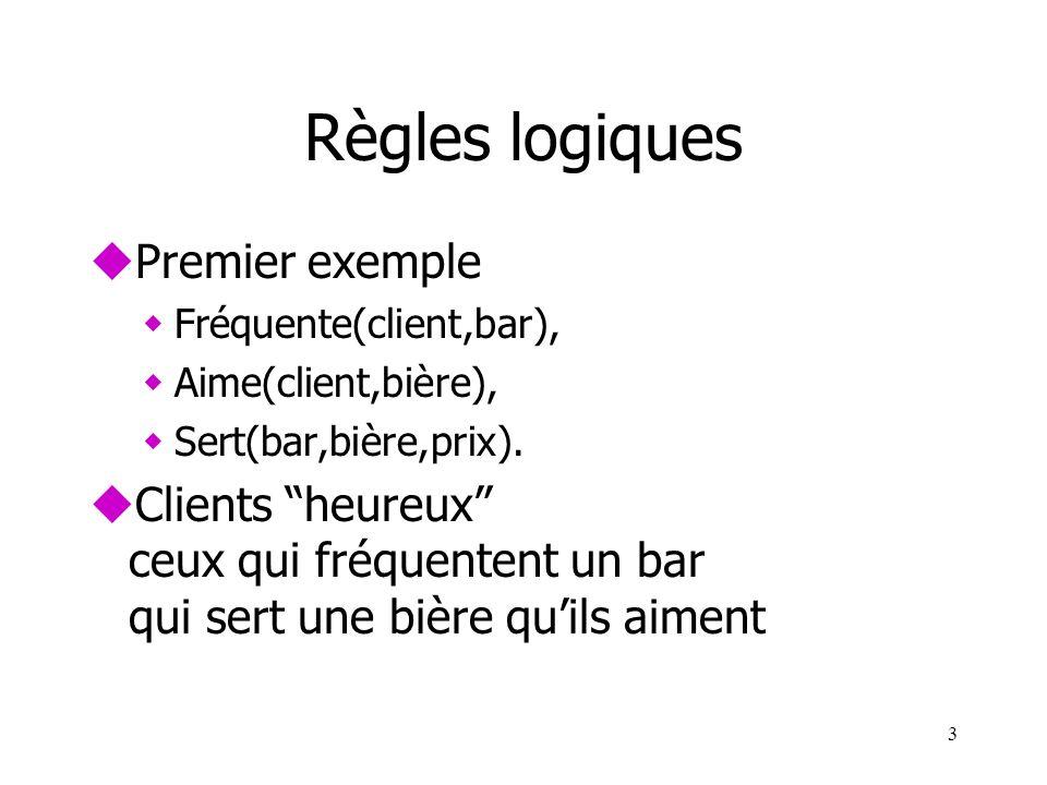 3 Règles logiques uPremier exemple wFréquente(client,bar), wAime(client,bière), wSert(bar,bière,prix). uClients heureux ceux qui fréquentent un bar qu