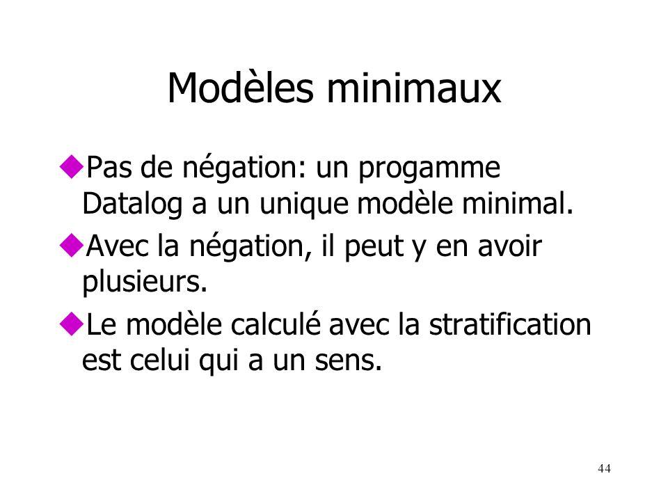 44 Modèles minimaux uPas de négation: un progamme Datalog a un unique modèle minimal. uAvec la négation, il peut y en avoir plusieurs. uLe modèle calc