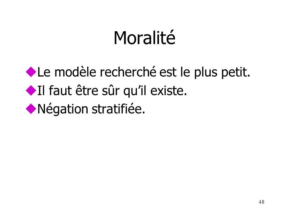 Moralité uLe modèle recherché est le plus petit. uIl faut être sûr quil existe. uNégation stratifiée. 48