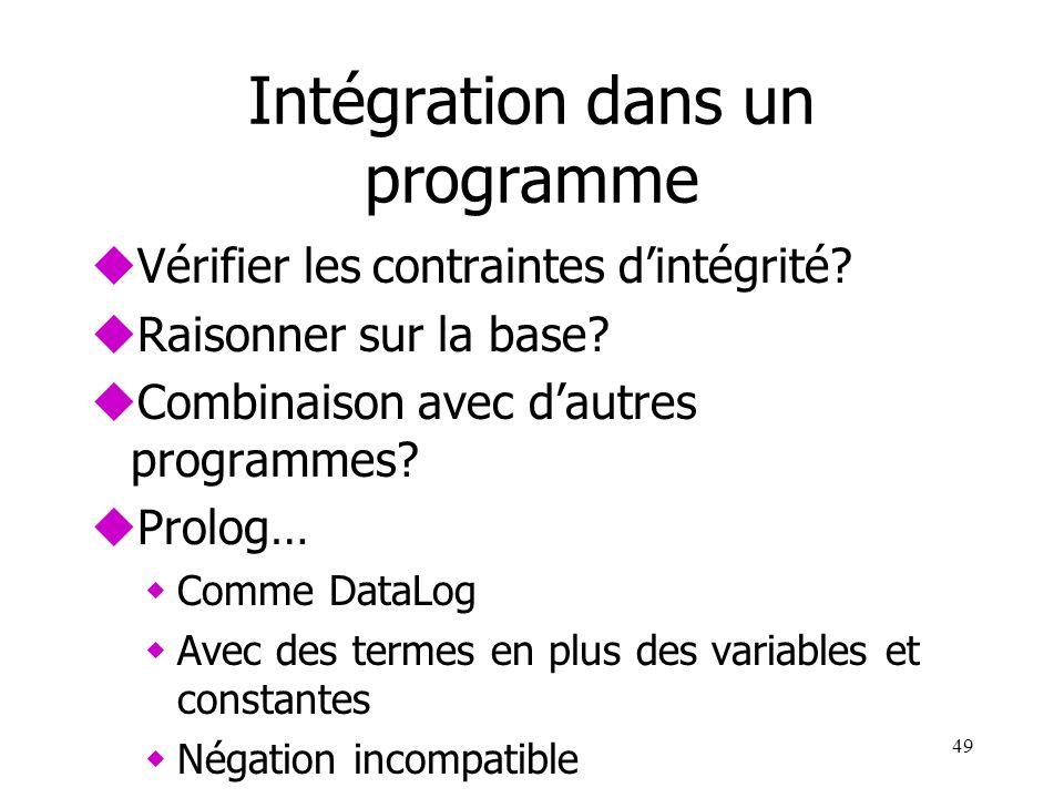 Intégration dans un programme uVérifier les contraintes dintégrité? uRaisonner sur la base? uCombinaison avec dautres programmes? uProlog… wComme Data