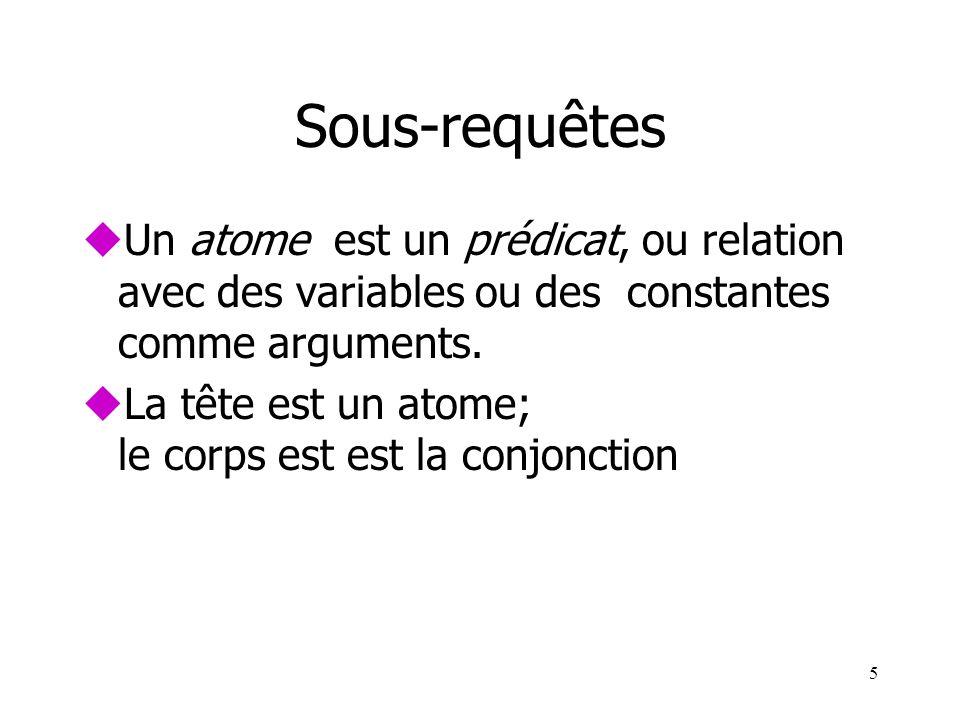 5 Sous-requêtes uUn atome est un prédicat, ou relation avec des variables ou des constantes comme arguments. uLa tête est un atome; le corps est est l