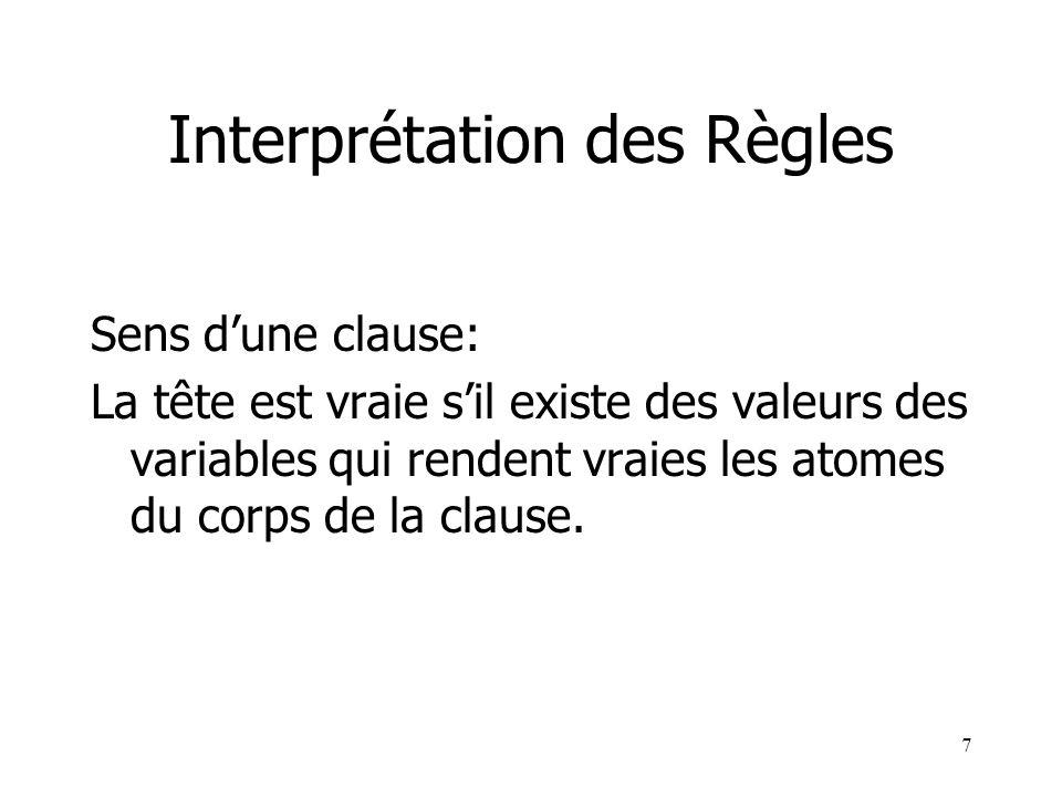 7 Interprétation des Règles Sens dune clause: La tête est vraie sil existe des valeurs des variables qui rendent vraies les atomes du corps de la clau