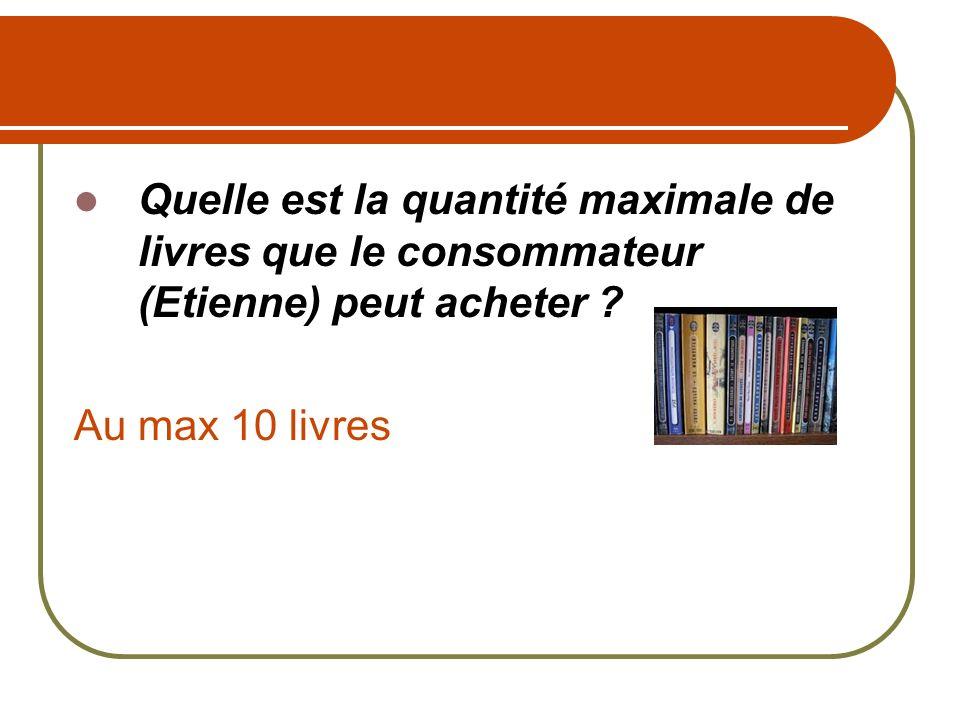 Quelle est la quantité maximale de livres que le consommateur (Etienne) peut acheter ? Au max 10 livres