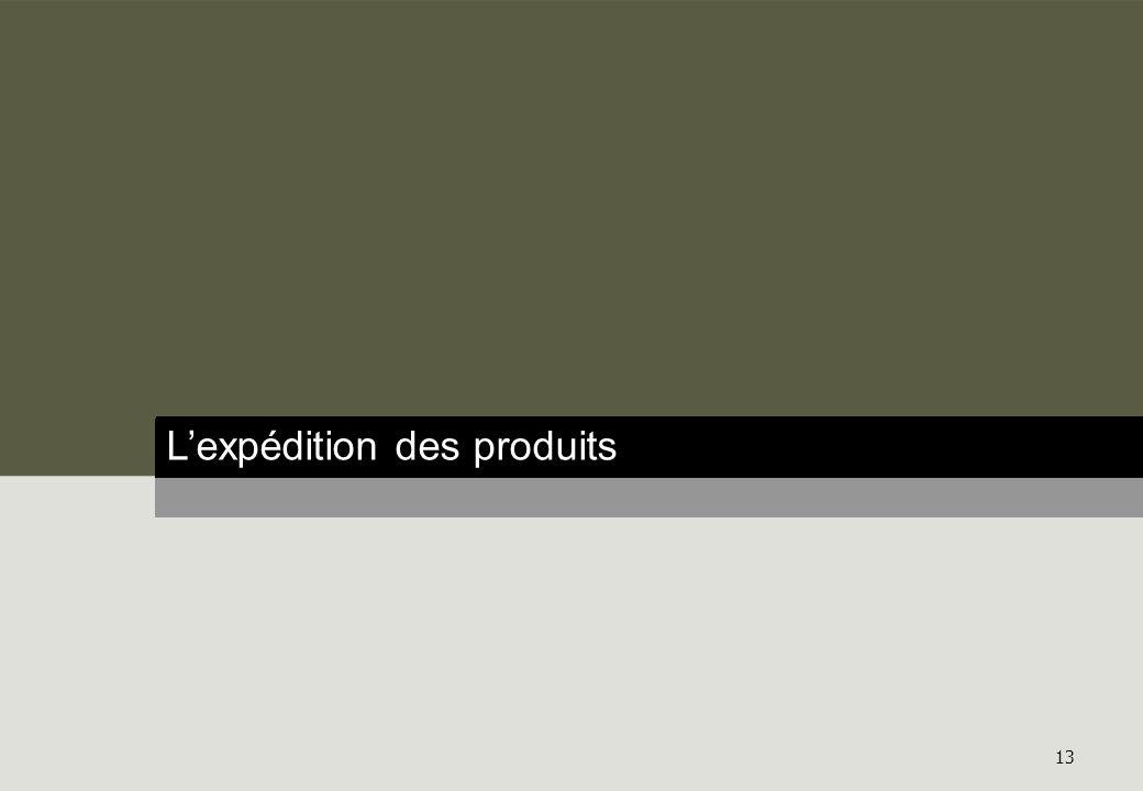 Résultats détaillés 13 Lexpédition des produits