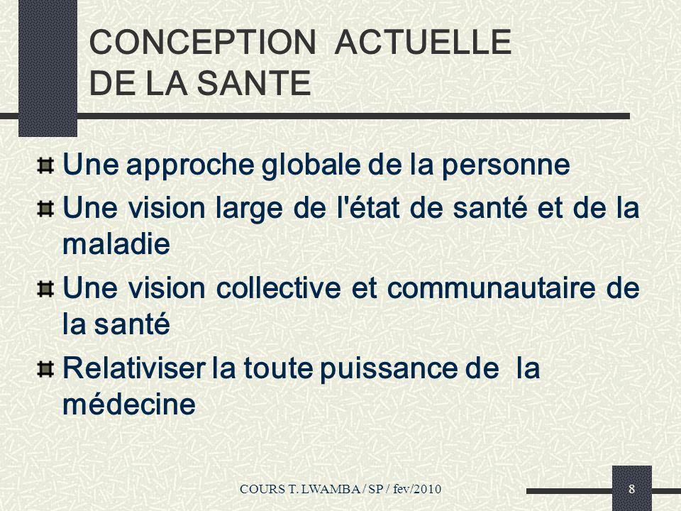 COURS T.LWAMBA / SP / fev/201048 Cinq axes de stratégie globale pour atteindre la santé (OMS) 1.