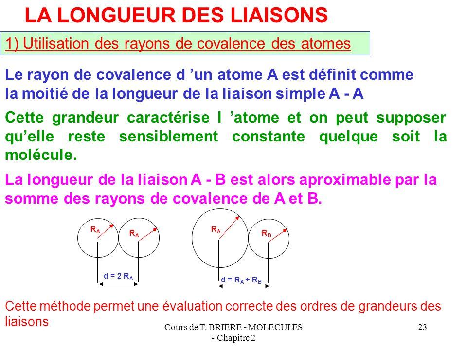 Cours de T. BRIERE - MOLECULES - Chapitre 2 22 Conséquence : Isomérie dans les molécules de type AX 5 A YY X X X Les sommets n étant pas équivalents i