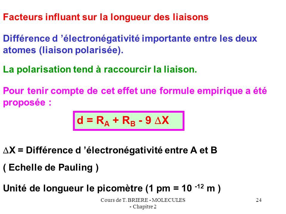Cours de T. BRIERE - MOLECULES - Chapitre 2 23 RARA RARA d = 2 R A d = R A + R B RBRB RARA 1) Utilisation des rayons de covalence des atomes Le rayon