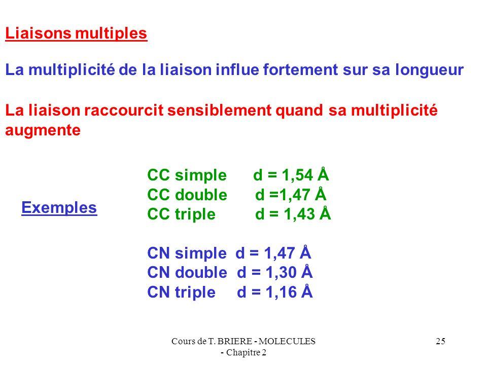 Cours de T. BRIERE - MOLECULES - Chapitre 2 24 Facteurs influant sur la longueur des liaisons Différence d électronégativité importante entre les deux