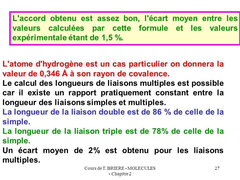 Cours de T. BRIERE - MOLECULES - Chapitre 2 26 Méthode ne nécessitant pas la connaissance préalable des rayons de covalence : R (Å ) = 0,215 n* 2 /Z*