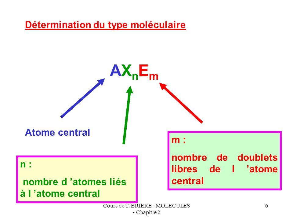 Cours de T. BRIERE - MOLECULES - Chapitre 2 5 Sommets de type axial Tous les sommets sont équivalents 5 doublets Figure de répulsion : bi-pyramide à b