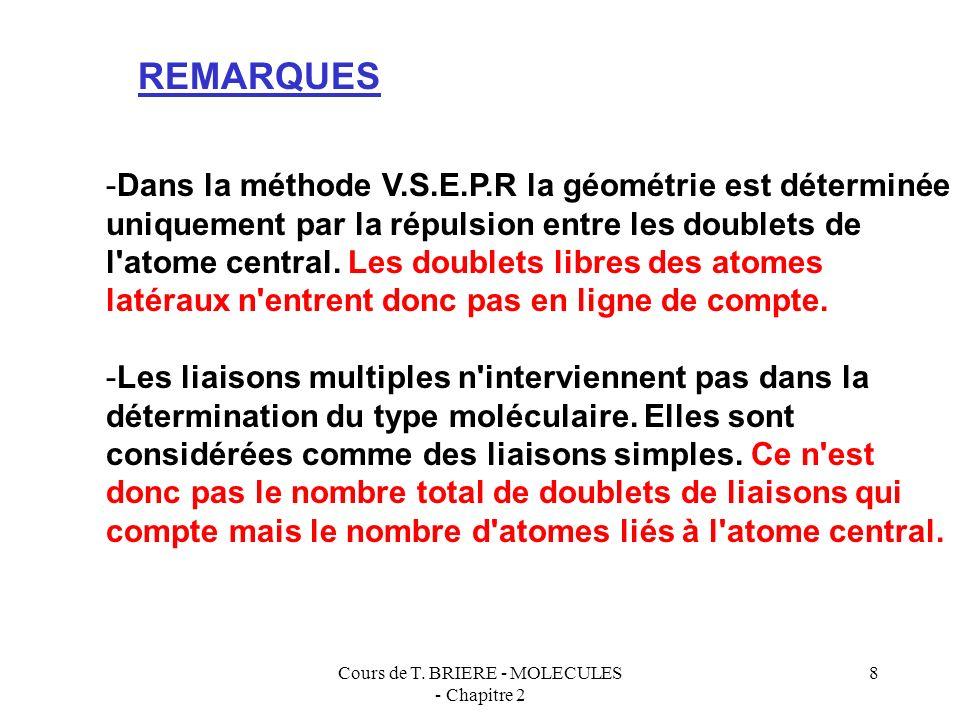 Cours de T. BRIERE - MOLECULES - Chapitre 2 7 N O O O + - - AX 3 OO O - + AX 2 E SO O O O - - AX 4 OH H AX 2 E 2