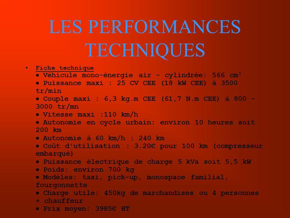 LES PERFORMANCES TECHNIQUES Fiche technique Véhicule mono-énergie air - cylindrée: 566 cm 3 Puissance maxi : 25 CV CEE (18 kW CEE) à 3500 tr/min Coupl