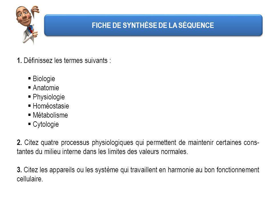 FICHE DE SYNTHÈSE DE LA SÉQUENCE 1. Définissez les termes suivants : Biologie Anatomie Physiologie Homéostasie Métabolisme Cytologie 2. Citez quatre p